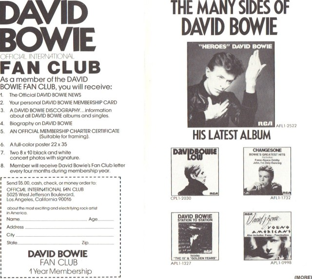 David Bowie Fan Club 1